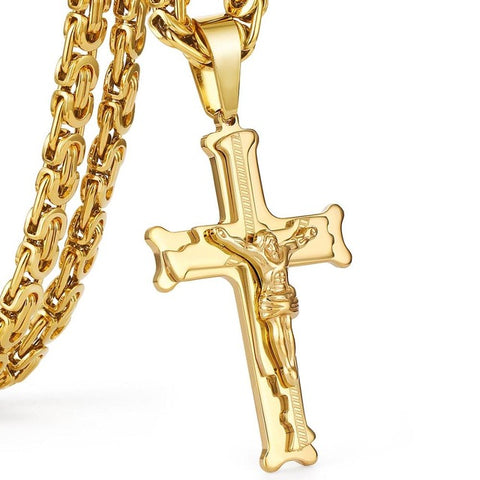 Gold Silver Tone Stainless Steel Christs Jesus Cross Pendant Necklace