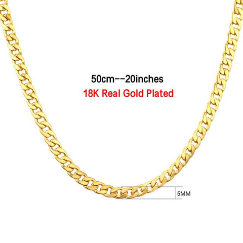 5mm Gold Chain Necklace For Men Women