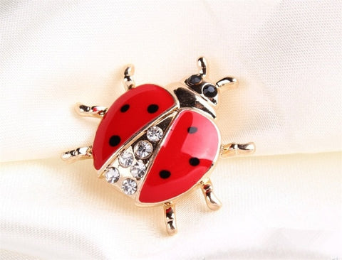 Rhinestone Ladybug Brooch For Women
