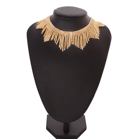 Fashion Rhinestones Tassel Collar Choker Necklaces Women