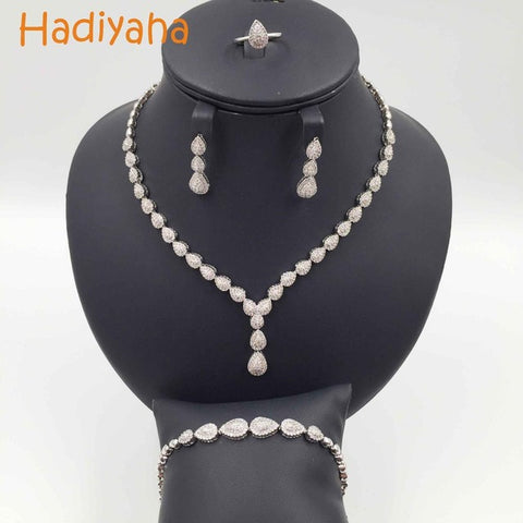 New High-Quality Sparkling Water Drop Crystal Jewelry Sets