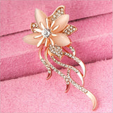 Gold Color Flower With Opal Stone Brooch Pin
