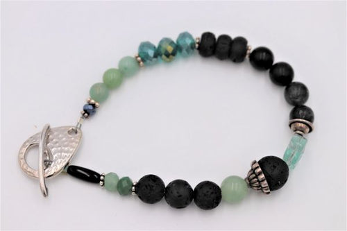 Silver Bracelet with Lava Aroma beads, Jade, Onyx & Black Quartz