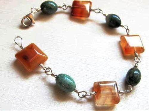 Silver Wire Wrapped Jade & Carnelian Beaded Bracelet