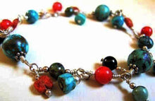 Silver Wire Wrapped Southwestern Coral, Garnet & Turquoise Bracelet