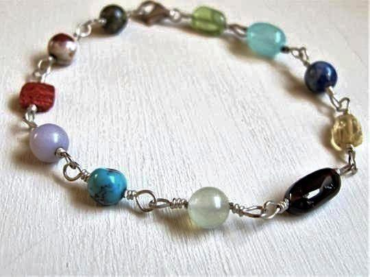 Silver Wire Wrapped Beaded Multi-Stone Bracelet