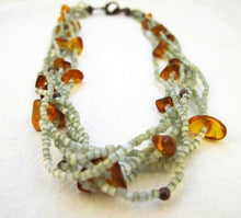 Copper Green Beaded Multi-Strand Amber Necklace, Amber Necklace, Copper Necklace