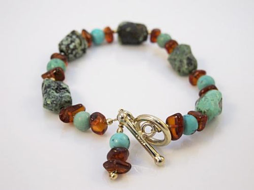 Turquoise & Amber Gemstone Beaded 14k Gold Bracelet