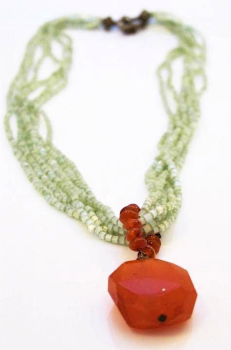 Copper Carnelian Multi-Strand Green Beaded Necklace, Carnelion Necklace, Gemstone Necklace, Multi-Strand Necklace