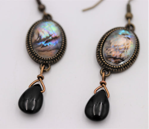 Vintage Onyx Antique Gold Drop Earrings