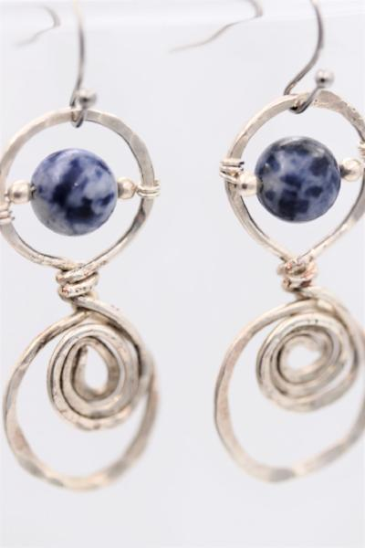 Hammered Silver Sodalite  Gemstone Boho Earrings