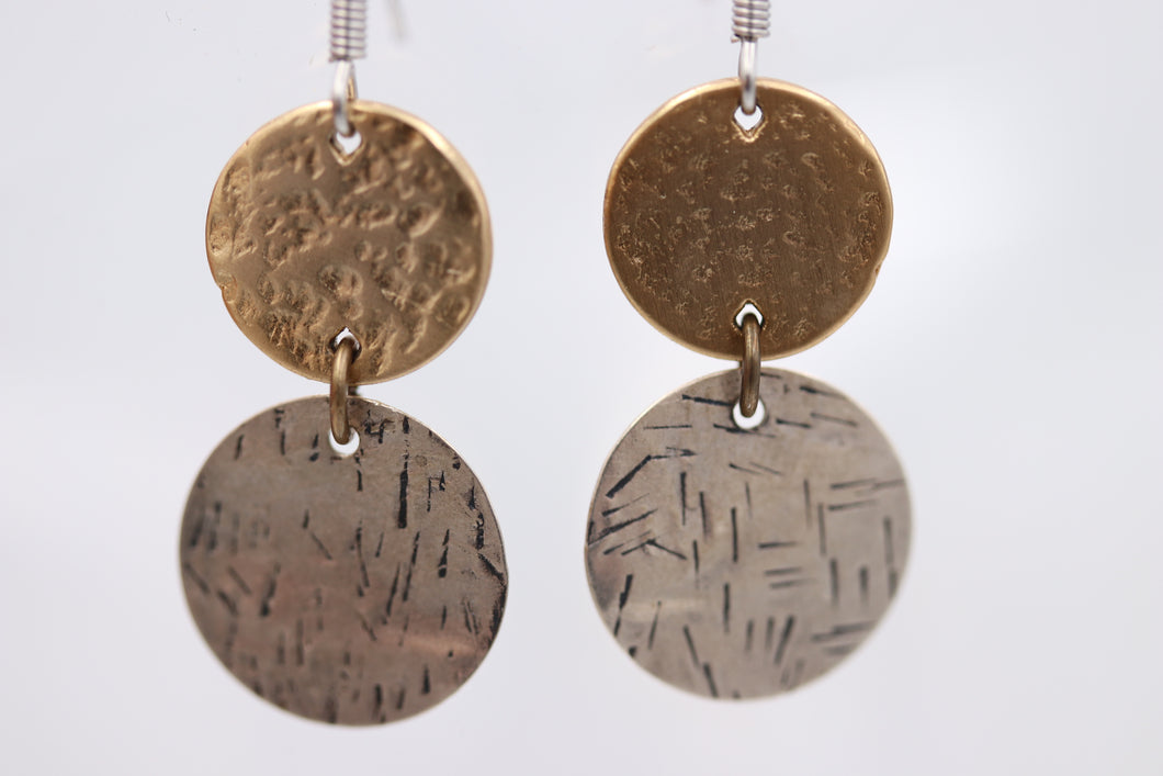 Silver & Gold Hammered Disc Earrings