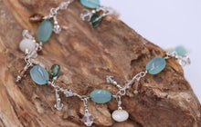 Silver Wire Wrapped Mother of Pearl, Crystal & Gemstone Dangle Bracelet