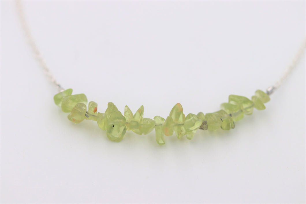 Green Peridot Chip Gemstone Silver Choker Necklace