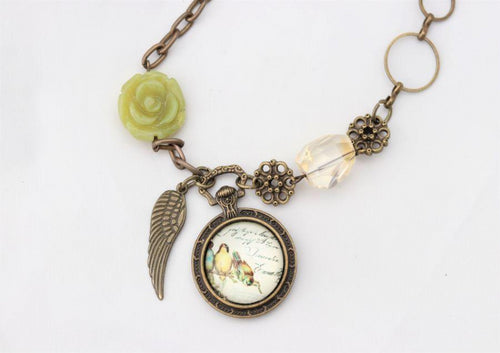 Citrine & Jade Antique Gold Romantic Bird Necklace