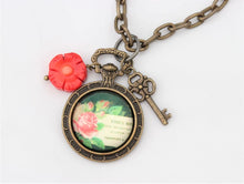Coral Antique Gold Flower Charm Necklace