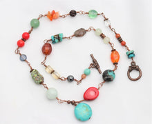 Turquoise, Coral, Jade Gemstone Copper Wire Necklace