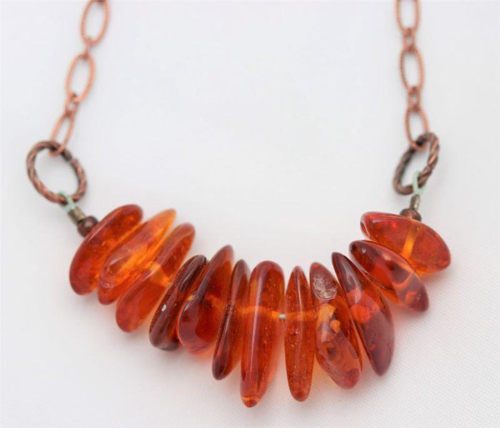 Amber Chip Bead Copper Earthy Boho Chain Necklace