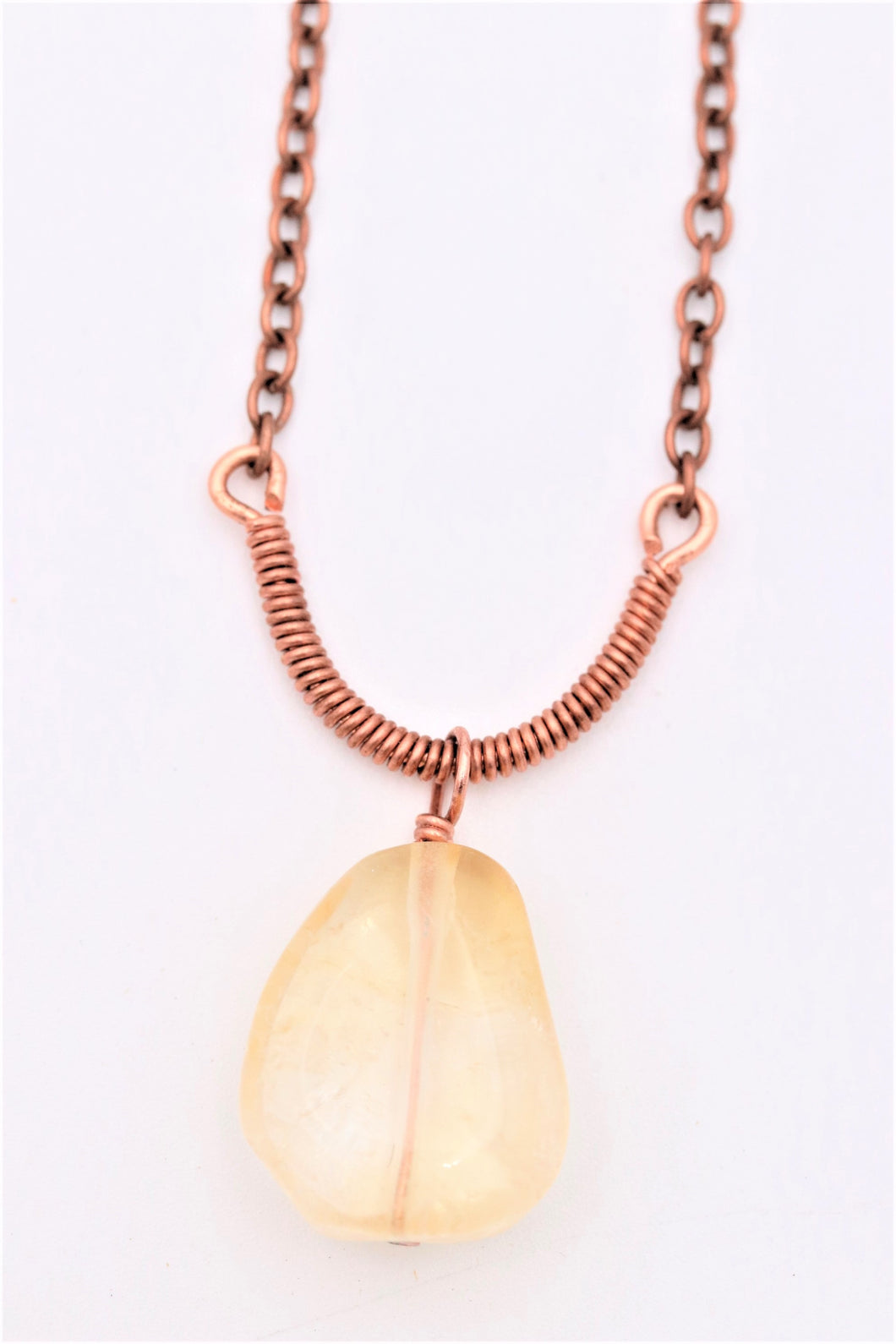 Copper Chain Wire Wrapped Large Citrine Gemstone Necklace