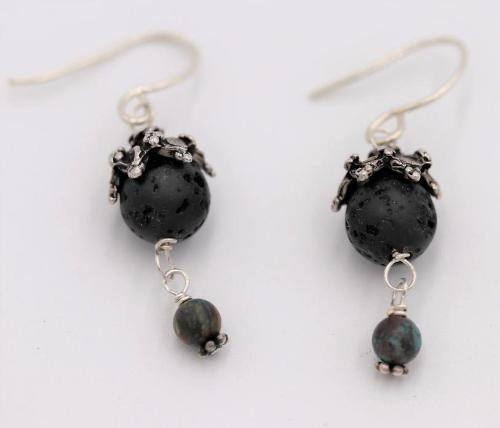Turquoise Lava Dangle Earrings