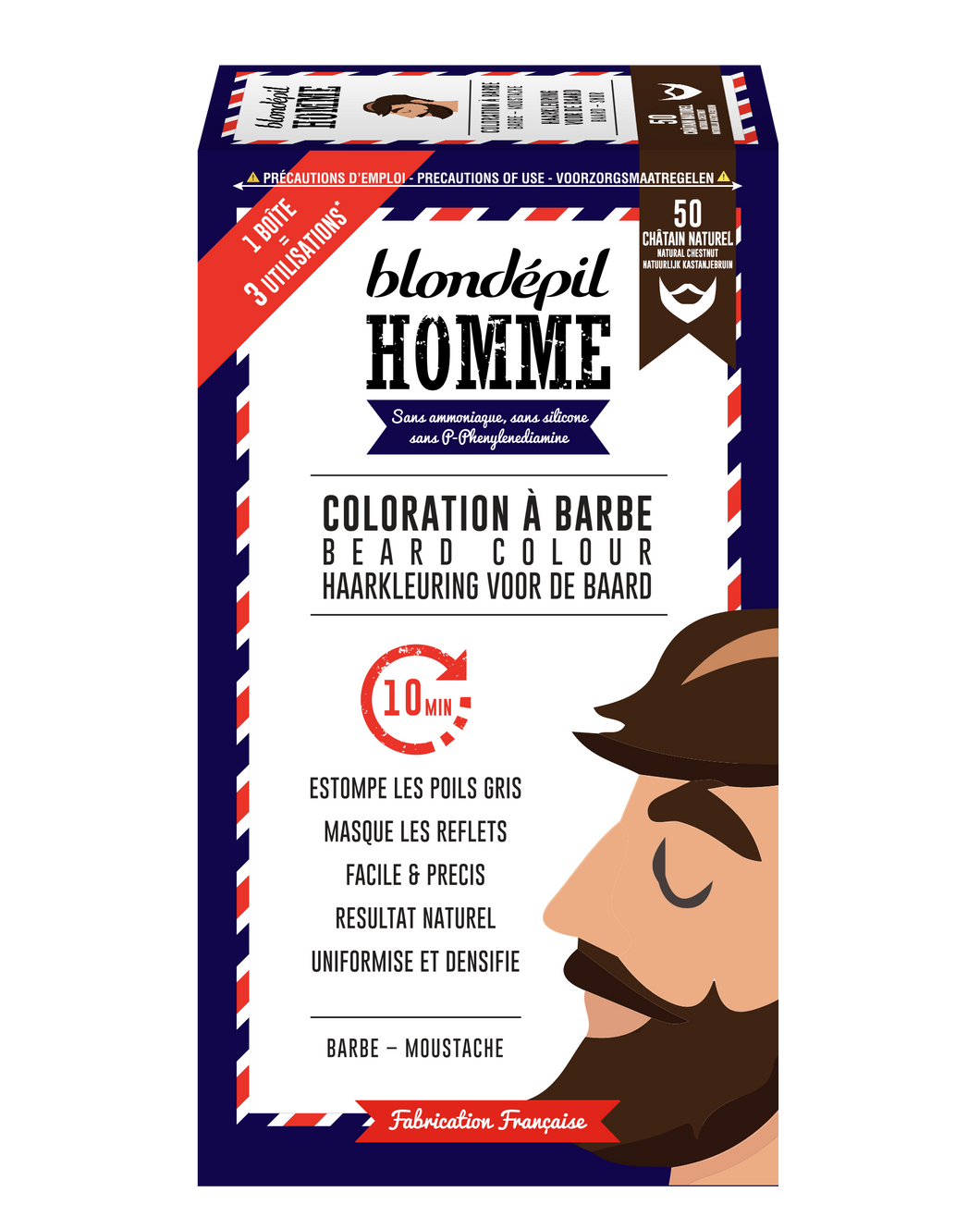 Coloration à Barbe CHATAIN NATUREL n°50 - Blondépil homme