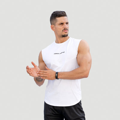 Drop Shoulder T-Shirt Performance - Bianco - Animal Ambition
