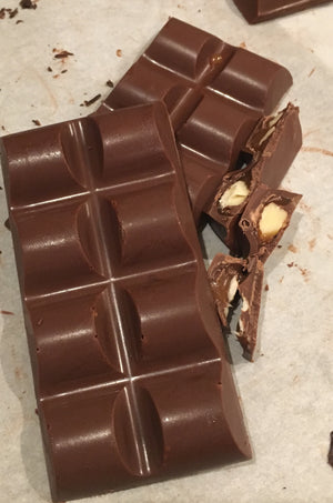 Chunky Almond Caramel Bar-Milk or Dark Chocolate