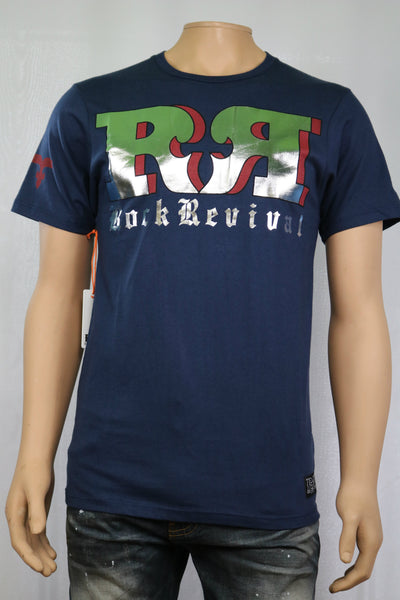 Rock Revival Brand TRIED AND TRUE CREWNECK T-SHIRT Navy