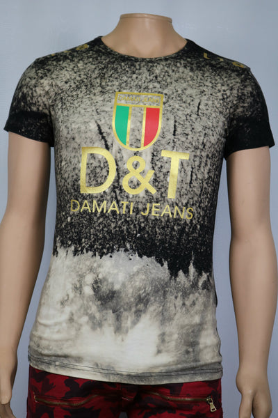 Damati Jeans Brand Gucci Collaboration Bleached Black t-shirt w/ gold print