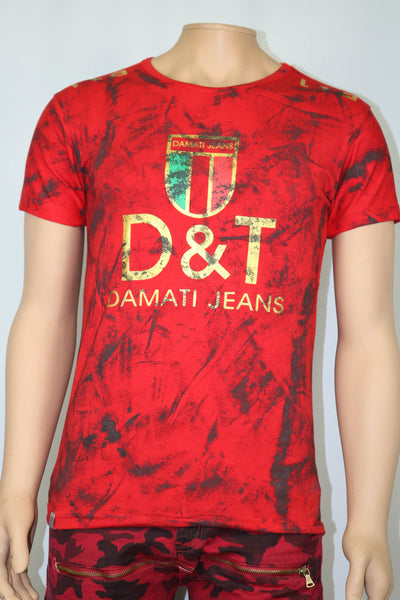 Damati Jeans Brand Gucci Collaboration Black Painted Red t-shirt