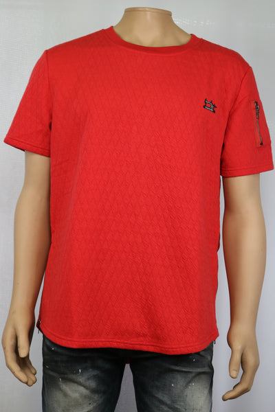 Damati Jeans Brand Red quilted zipper style t-shirt w/embroidered Damati Logo