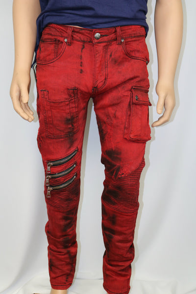 Damati Jeans Black Stained Red Denim Slim Fit Jean