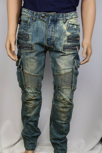 Damati Jeans Bleached Blue Denim Slim Fit moto cargo Jean