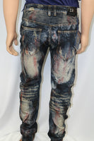 Damati Jeans Brand Red Painted Bleached Dark Indigo Denim Slim Fit motocross inspired Jean