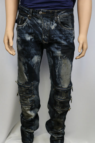 Damati Jeans Black Stained Bleached Indigo Denim Slim Fit Jean