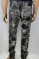 Damati Jeans Black Painted Grey Denim Slim Fit moto Distressed style Jean