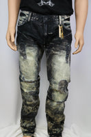 Robins Jeans Black/Blue/Emrald Stained Black Jean w/ Blue/Black/Clear stoned pocket flaps