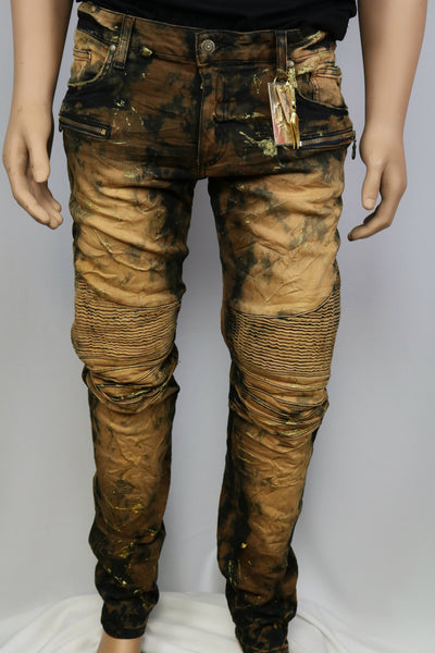 Robins Jean Black/Orange/Gold Stained w/gold glitter accent & gold stone pocket outline