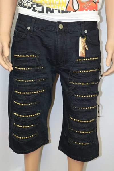 Robins Jeans Black Distressed Shorts w/ Gold crystals & gold studs