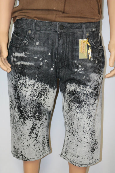 Robins Jeans brand Bleached/Painted faded black/grey denim shorts w/black stoned pocket flap outline