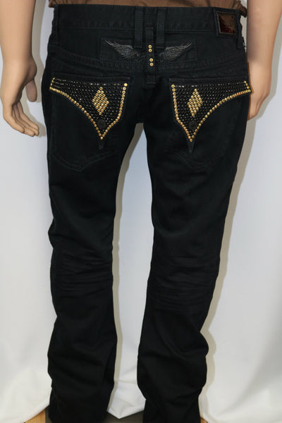 Robins Jeans Solid Black Jeans w/Black/Gold crystal pocket flaps