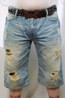 Robins Jeans Brand Distressed shorts w/Red crystal pocket flaps