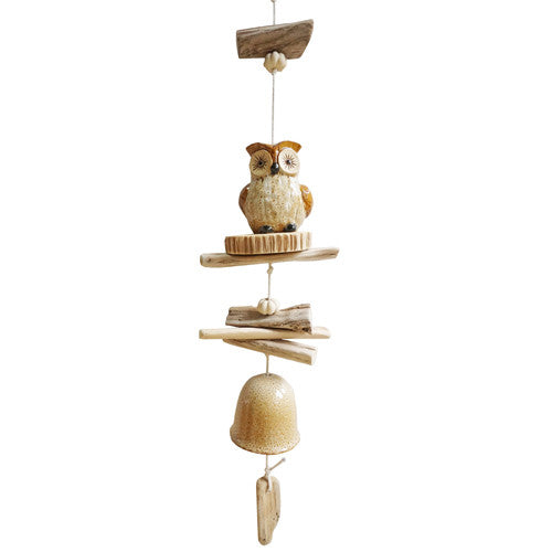 Hanging Wood/Ceramic Owl Wind Chime