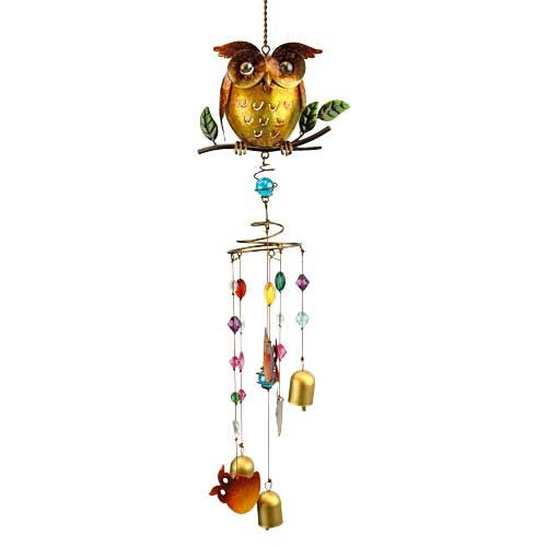 Natures Jewels Owl Wind Chime