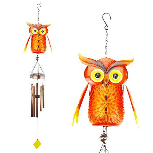 Solar Owl Jar Wind Chime