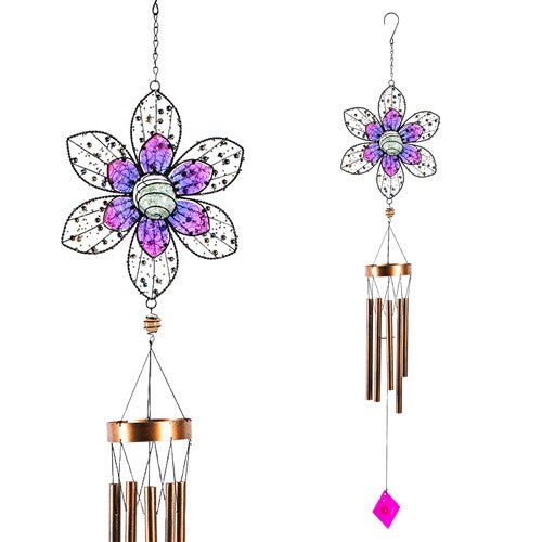 Glow In The Dark Beaded Flower Wind Chime