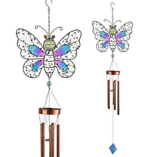 Glow In The Dark Beaded Butterfly Wind Chime