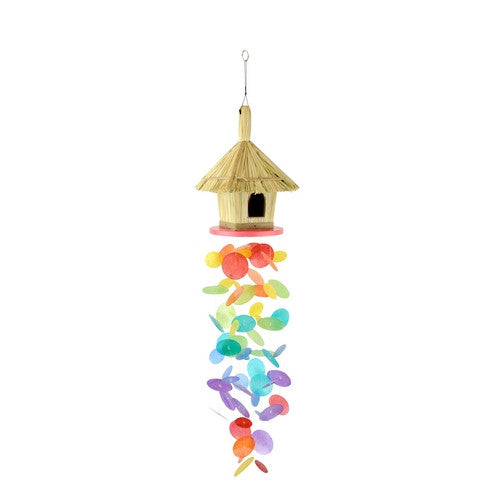 Bamboo and Capiz Rainbow Hut Wind Chime
