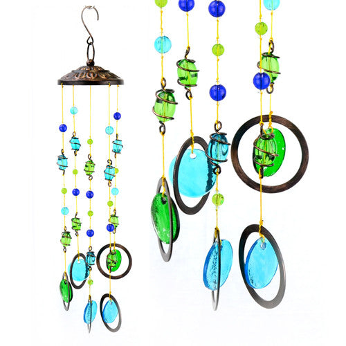 Turquoise and Green Glass Mobile Wind Chime