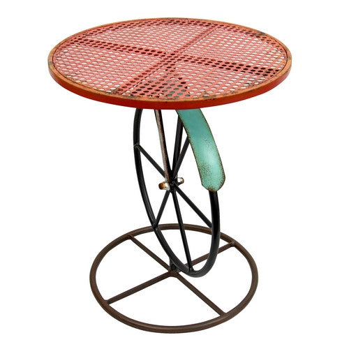 Round Red/Teal Metal Garden Table